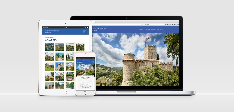 Il sito web ufficiale del Castello di Carbonana, visualizzato su vari disposivi tra cui smartphone, tablet e laptop